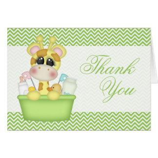 Niedliche Bathtime Giraffe danken Ihnen Mitteilungskarte