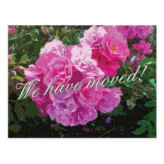 Niedliche bewegliche Postkarten mit rosa Rosen-Blu