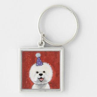 Niedliche Bichon Frise Party-Hundeillustration Silberfarbener Quadratischer Schlüsselanhänger