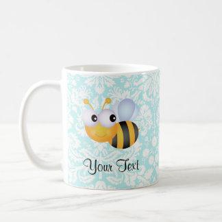 Niedliche Biene; Aquamarines Damast-Muster Kaffeetasse