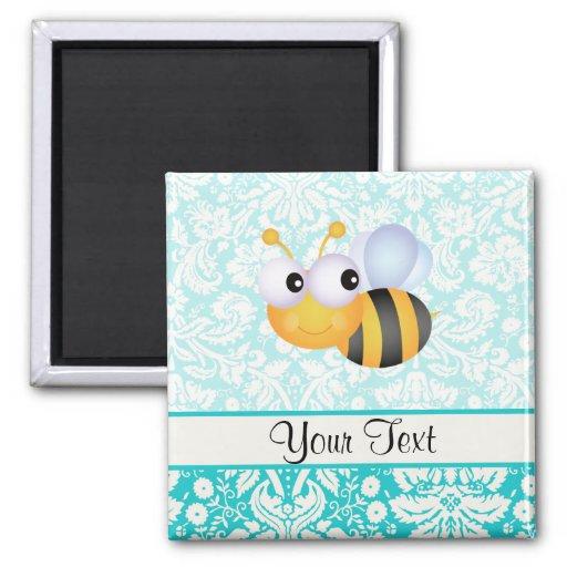 Niedliche Biene; Aquamarines Damast-Muster Kühlschrankmagnet