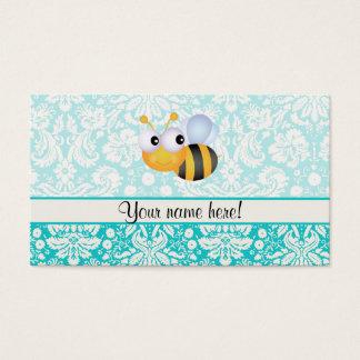 Niedliche Biene; Aquamarines Damast-Muster Visitenkarten