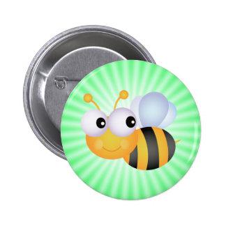 Niedliche Biene Grün Button