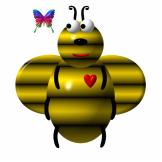 Niedliche Biene und Babyschmetterling Freistehende Fotoskulptur