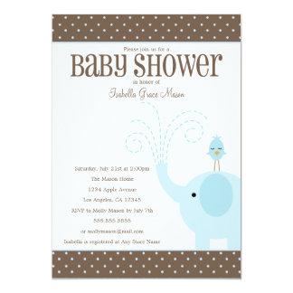 Niedliche blaue Baby-Dusche des Elefant-  laden 12,7 X 17,8 Cm Einladungskarte
