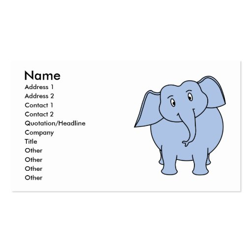 Niedliche blaue Elefant-Karikatur Visitenkartenvorlage
