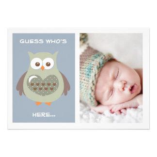 NIEDLICHE BLAUE EULEN-BABY-MITTEILUNGS-FOTO-KARTE INDIVIDUELLE EINLADUNGSKARTE