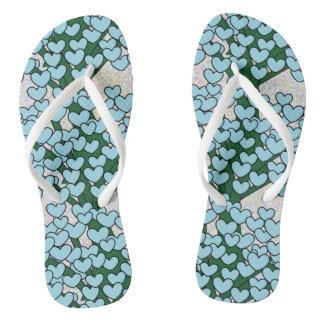 Niedliche blaue Liebe-Herz-grünes Baum-Muster Flip Flops