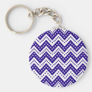 Niedliche blaue Punkt-Zickzacke Schlüsselanhänger