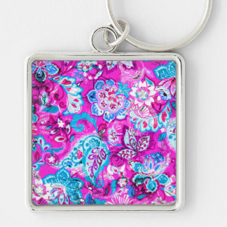 Niedliche blaue rosa Blumenmuster Schlüsselanhänger