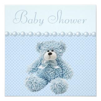 Niedliche blaue Teddy-Bärn-Baby-Jungen-Dusche Quadratische 13,3 Cm Einladungskarte