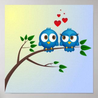 Niedliche blaue Vögel im Liebe-Cartoon Poster