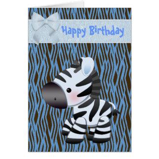 Niedliche blaue Zebra-u. Kuchen-(nach innen) Grußkarte
