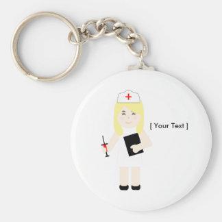 Niedliche blonde Krankenschwester Keychain Standard Runder Schlüsselanhänger
