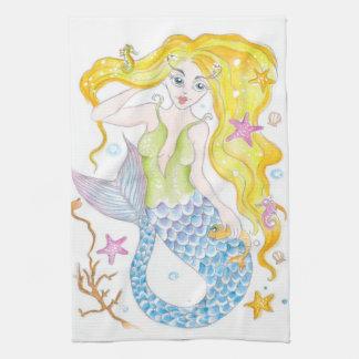 Niedliche blonde Meerjungfrau Geschirrtuch