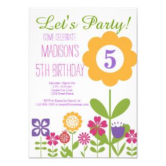 Niedliche Blumen-Garten-Geburtstags-Party 11,4 X 15,9 Cm Einladungskarte