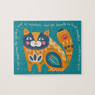 Niedliche Boho Katze mit Zitat Puzzle
