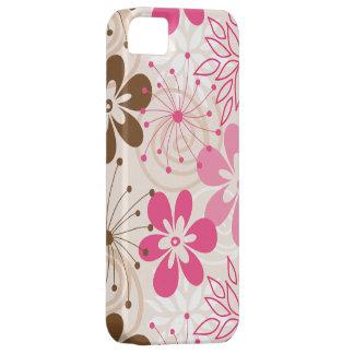 Niedliche braune und rosa abstrakte Frühlings-Blum iPhone 5 Case