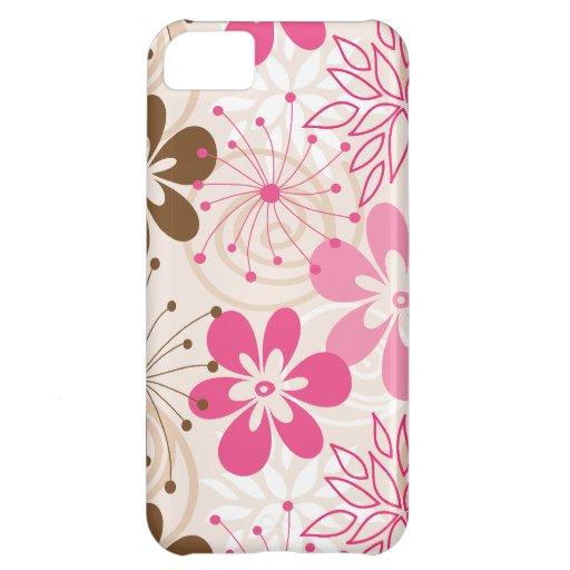 Niedliche braune und rosa abstrakte Frühlings-Blum iPhone 5C Cover