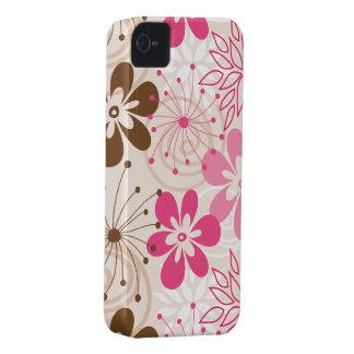Niedliche braune und rosa abstrakte Frühlings-Blum iPhone 4 Case-Mate Hüllen