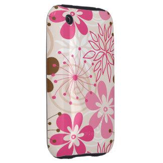 Niedliche braune und rosa abstrakte Frühlings-Blum iPhone 3 Tough Hüllen