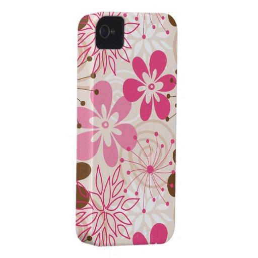 Niedliche braune und rosa abstrakte iPhone 4 hülle