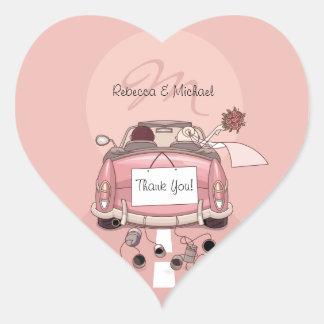 Niedliche Braut-u. Bräutigam-rosa Flucht danken Herz-Aufkleber