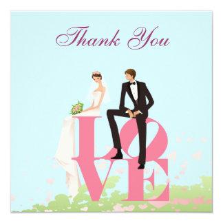 Niedliche Braut u. Bräutigam u. Liebe danken Ihnen Quadratische 13,3 Cm Einladungskarte