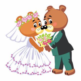 niedliche Braut und Bräutigam Teddybären entwerfen Freistehende Fotoskulptur