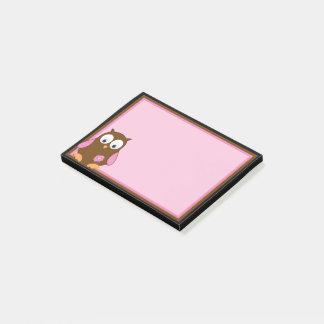 Niedliche Brown-Eule mit rosa Flügeln Post-it Klebezettel