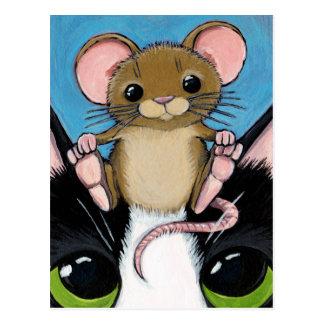 Niedliche Brown-Maus und Katzen-Postkarte Postkarte
