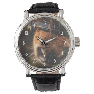 Niedliche Brown-Pferdenase Armbanduhr