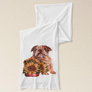 Niedliche Bulldogge mit dem Sonnenblume-Zeichnen Schal