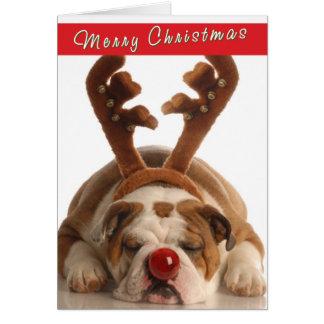Niedliche Bulldoggen-Weihnachtskarte Karte