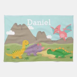 Niedliche bunte Dinosaurier für Kinder Küchenhandtuch