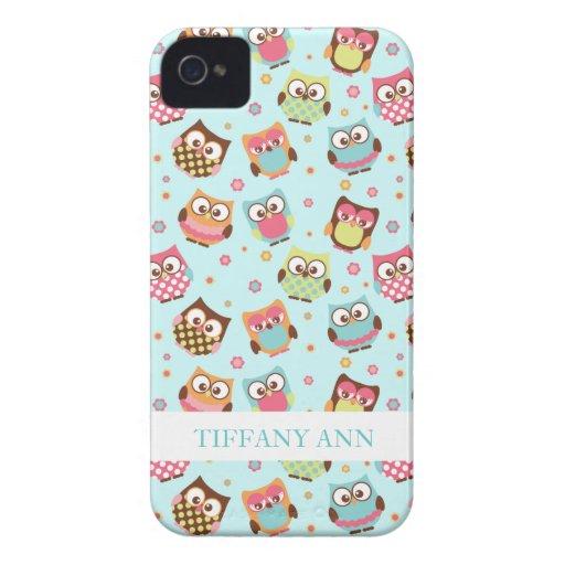 Niedliche bunte Eulen auf aquamarinem Muster iPhone 4 Cover