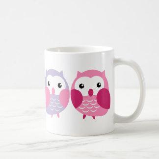 Niedliche bunte Eulen - rosa und lila Pastelle Kaffeetasse