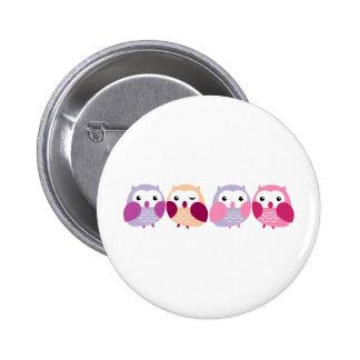 Niedliche bunte Eulen - rosa und lila Pastelle Runder Button 5,1 Cm