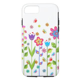 Niedliche bunte Frühlings-Blumen u. Schmetterlinge iPhone 7 Hülle