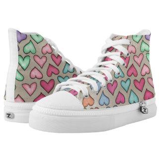 Niedliche bunte Herzen Hoch-geschnittene Sneaker