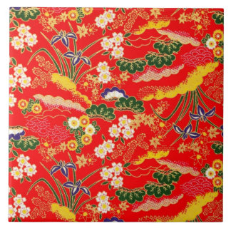 Niedliche bunte japanische Blumenmuster Große Quadratische Fliese