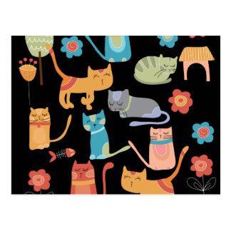Niedliche bunte Kitty-Katzen-Geschenke für Postkarte