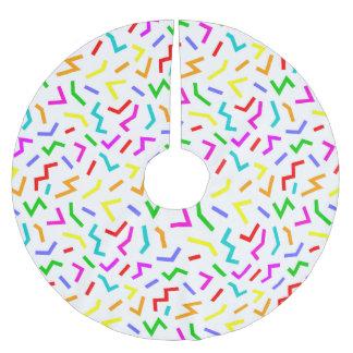 Niedliche bunte Linien Muster Polyester Weihnachtsbaumdecke