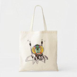 Niedliche bunte Pfau-Spinne, die Druck-Tasche Tragetasche