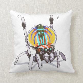 Niedliche bunte Pfau-Spinne, die Kunst-Kissen Kissen