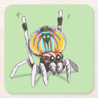 Niedliche bunte Pfau-Spinne, die Kunst-Untersetzer Rechteckiger Pappuntersetzer
