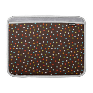 Niedliche bunte Polka-Punkte Brown MacBook Sleeve