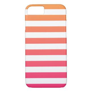 Niedliche bunte Preppy orange rosa weiße Streifen iPhone 8/7 Hülle