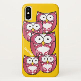 Niedliche bunte rosa Eulen ändern Gelb zu jeder iPhone X Hülle