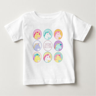 Niedliche bunte Unicornsammlungsknöpfe Baby T-shirt